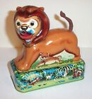 WORKING 1950's MECHANICAL WIND-UP BUBBLE BLOWING LION TIN LITHO CIRCUS TOY JAPAN