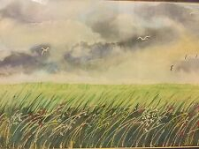 Watercolour Painting of Strom Clouds over Meadow by Margaret Walker