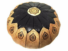 Moroccan 100% Leather Hassack Round Ottoman Pouf Seat in Brown & Tan Large Poof