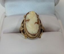 Art Deco Shell Cameo Ladies Gold Ring (J281)