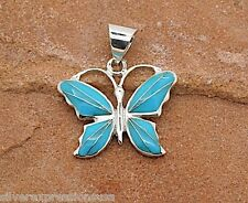 Sleeping Beauty Turquoise Inlay 925 Sterling Silver Butterfly Pendant