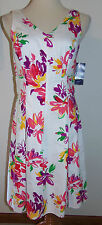 New Chaps 6 Dress V-Neck Sleeveless Sundress White Floral Cotton Ralph Lauren