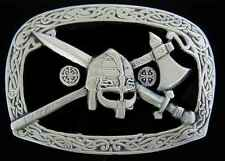 VIKING WARRIOR BELT BUCKLE WITH SWORD AND BATTLE AXE NEW!