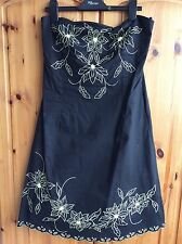 Woman's Black Dress With Large Embroidered Yellow Sequin Flowers Jane Norman 14