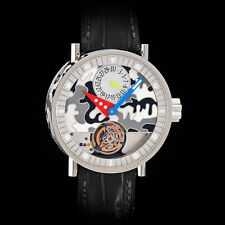 "Alain Silberstein Tourbillon ""Volante"" White Enamel Dial and Case. Work of Art!"