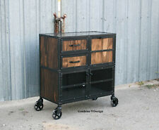 Vintage Industrial Salon Workstation/Cart. Urban, Modern, Reclaimed Wood avail.
