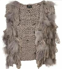 TOPSHOP KNITTED OSTRICH FEATHER GILET UK 12 US 8 EUR 40 BNWT £75 RARE