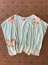 NWoT Womens JOHNNY WAS Blue Floral EMBROIDERED COTTON Silk Poncho Top L