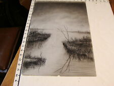original early artwork: Water scene with Trees, grass