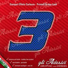 Adesivo Stickers NUMERO 3 moto auto cross gara Carbon Effect Blu 5 cm