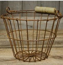Rusty Metal Wire Egg Basket - Primitive Country Farmhouse Decor
