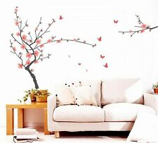 Peach Blossom Branches Tree Butterfly Vinyl Removable Wall Decor Sticker ED
