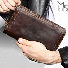 Mens Long Chocolate Genuine Leather Wallet Zipper Pursre Clutch ID Card Holder
