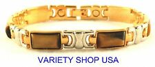 """Alloy 2-Tone with Tiger Eye Stones Magnetic Chain Link 7"""" Bracelet  5186TE"""