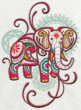 ELEPHANT SPRAY Mehndi SET OF 2 HAND TOWELS EMBROIDERED by laura