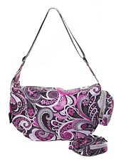 Very Lovely Bag Co Foldaway Shopping Slouch Bag Zip Closure Pink Paisley Designs