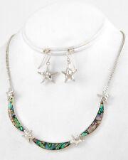 COASTAL Silver ABALONE STARFISH Tropical Beach Necklace & Earrings Set NWT