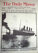 1912 TITANIC Newspaper Daily Mirror Antique Photos Man Old London New York C U K