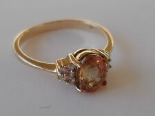 ULTRA RARE GEM 9K ORANGE COLOUR CHANGE SAPPHIRE & DIAMOND GOLD BEAUTIFUL RING.