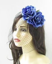 Blue Rose Flower Black Birdcage Veil Fascinator Vintage Headpiece Hair Clip 255
