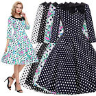 Retro Vintage Style 50s 60s Polka Dot Full Skirt Housewife Party Dress Plus Size