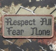 RESPECT ALL FEAR NONE US ARMY MILITARY BADGE FOREST VELCRO® BRAND FASTENER PATCH