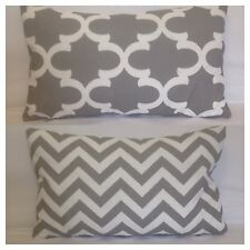 50x30cm Lumbar Indoor/Outdoor Grey/White Moroccan/Chevron Cushion Cover