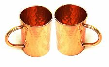 Hammered Copper Moscow Mule Mug Handmade of 100% Pure Copper Cap.-16 Oz Set of 2