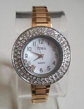 Designer Style Woman stretchy Gold/Silver finish floating stone Fashion watch