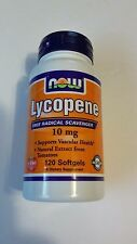 NOW Foods Lycopene 10 mg 120 Softgels Antioxidant Natural Tomato Extract 06/17