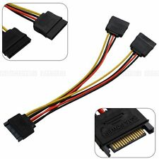 SATA 15 Pins Splitter 1 Male to 2 Female HDD Plug Power Cable For PC Desktop
