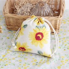 Sunflower Print Drawstring Beam Port Storage Bag Travel Bag Gift Bag Size L