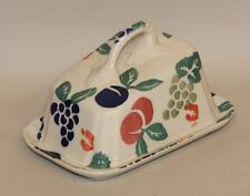 Royal Winton England Bordeaux Spongeware Cheese Wedge Dish with Lid