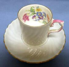 AYNSLEY BONE CHINA DEMITASSE COFFEE CUP AND SAUCER MADE IN ENGLAND