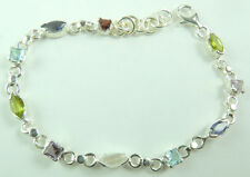 Bracelet with Marquise & Square Multigems Sterling Silver