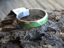 Sterling silver unisex band inlaid green gaspeite. size 5 or 11