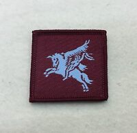 Small Airborne DZ Flash, Arm Badge, Army, Pegasus, Light Blue, Maroon, Patch