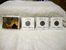 1943 PDS Wartime Lincoln Cent Set In Collectors Case & 1943 PDS Steel Penny Set