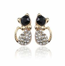 Chats chats Boucles D'oreilles couleur or noir Strass Kitty