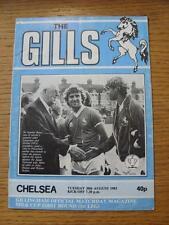 30/08/1983 Gillingham v Chelsea [Football League Cup] (Creased, Folded, Worn).