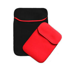 """15.6"""" Neoprene Netbook Laptop Soft Bag Sleeve Case Pouch Cover Color Black Red"""