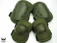 Tactical Knee + Elbow Pad set. Olive Green Paintball / Airsoft Protection Pads