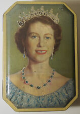 Vintage 1953 Queen Elizabeth Coronation Metal Tin Candy Box Free Shipping