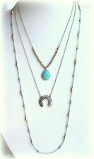 $49 NWT LUCKY LAYERS LUCKY BRAND SQUASH BLOSSOM TURQUOISE NECKLACE SILVER