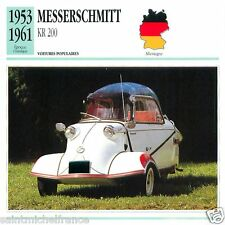 MESSERSCHMITT KR 200 1953 1961 CAR VOITURE GERMANY DEUTSCHLAND CARD FICHE