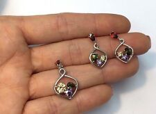 New Sterling Silver Mutli Colored Crystal CZ Earring and Pendant Set