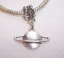 Saturn Planet Outer Space Dangle Bead Gift fits Silver European Charm Bracelets
