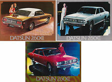 Three 1972-73 DATSUN 260C SEDAN & HARDTOP 2 Page Sales Brochures