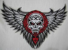 Large Tribal Winged Skull Bike Motorcycle Biker Embroidered Sew On Badge Patch