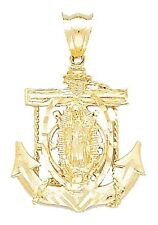 Virgen de Guadalupe Anchor 14k Solid Yellow Gold Pendant
